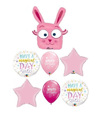 Birthday Magical Pink Rabbit Balloons Bouquet