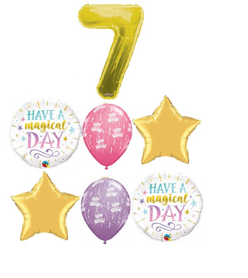 Birthday Magical Pick An Age Gold Number Balloons Bouquet