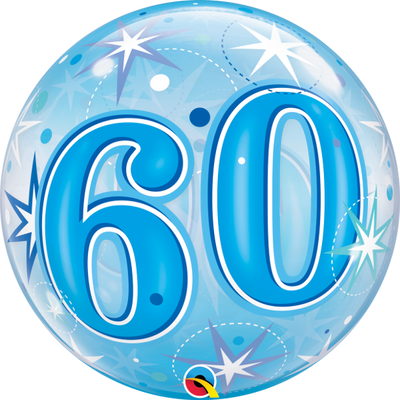 60th Birthday Milestone Age Blue Starburst Sparkle Bubbles Balloon