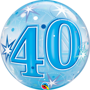 40th Birthday Milestone Age Blue Starburst Sparkle Bubbles Balloon