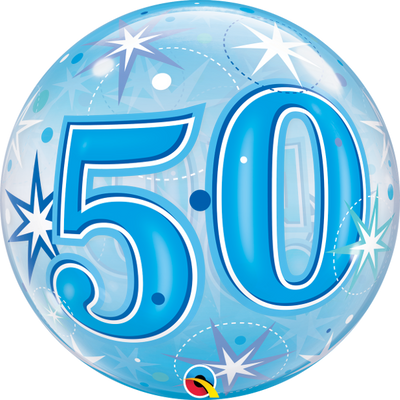 50th Birthday Milestone Age Blue Starburst Sparkle Bubbles Balloon