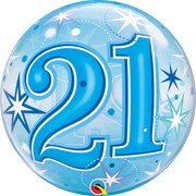 21st Birthday Milestone Age Blue Starburst Sparkle Bubbles Balloon