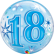 18th Birthday Milestone Age Blue Starburst Sparkle Bubbles Helium Balloon