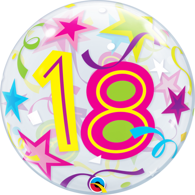 18 Birthday Milestone Age Brilliant Stars Bubbles Balloon