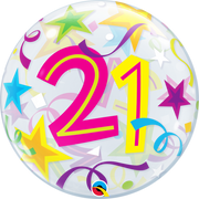 21 Birthday Milestone Age Brilliant Stars Bubbles Balloon