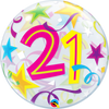21st Birthday Brilliant Stars Bubbles Balloon Bouquet 2