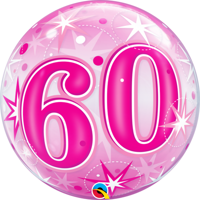 60th Birthday Milestone Age Pink Starburst Sparkle Bubbles Balloon