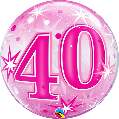 40th Birthday Milestone Age Pink Starburst Sparkle Bubbles Balloon