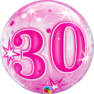 30th Birthday Milestone Age Pink Starburst Sparkle Bubbles Balloon
