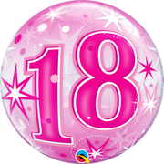 18th Birthday Milestone Age Pink Starburst Sparkle Bubbles Helium Balloon
