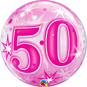 50th Birthday Milestone Age Pink Starburst Sparkle Bubbles Balloon