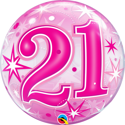 21st Birthday Milestone Age Pink Starburst Sparkle Bubbles Balloon