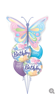 Birthday Pastel Beautiful Butterflies Balloon Bouquet