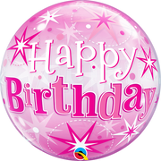 Happy Birthday Milestone Pink Starburst Sparkle Bubbles Balloon