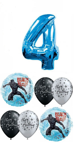 Black Panther Pick An Age Blue Number Birthday Balloon Bouquet
