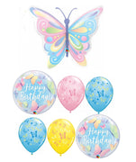 Butterfly Pastel Birthday Balloon Bouquet