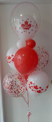 Canada Day Maple Leaf Confetti Balloon Bouquet