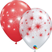 Canada Day Red and White Fireworks Balloons