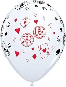 Casino Dice and Playing Cards White Balloons