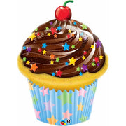 Birthday Chocolate Frosting Cupcake 35 inch Foil Balloon with Helium