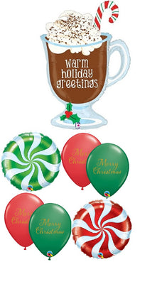Christmas Hot Chocolate Warm Greetings Balloon Bouquet