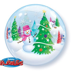 Christmas Festive Trees Snowman Bubbles Balloon