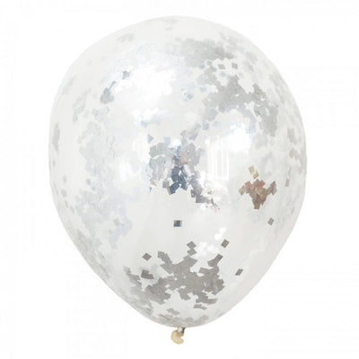 16 inch Silver Confetti Helium Balloon with Hi Float