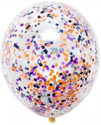 16 inch Black Orange Purple Confetti Balloon