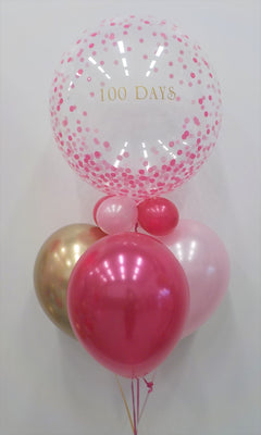 100 Days Pink Dots Balloon Centerpiece