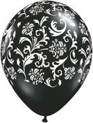 Damask Black and White Balloons