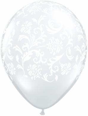 Damask White Diamond Clear Balloons