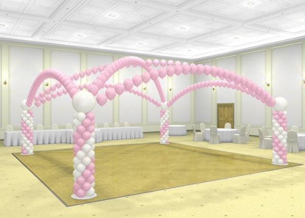 Dance Floor 6 Pearl Balloon Arches and Columns