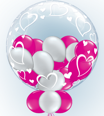 Deco 24 inch Stylish Hearts Gumball Balloon in Bubbles