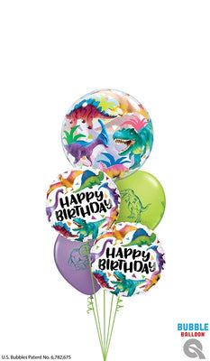 Dinosaur Bubbles Happy Birthday Balloon Bouquet