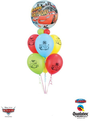 Disney Cars Bubbles Collar Happy Birthday Balloon Bouquet
