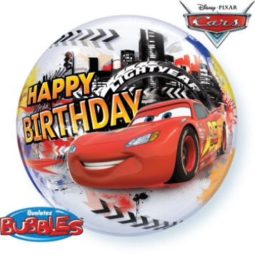 Disney Cars Lighting McQueen Happy Birthday 22 inch Bubbles Balloon