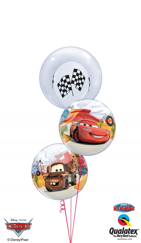 Disney Cars Racing Flags in Bubbles Balloon Bouquet