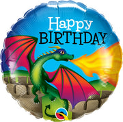 Birthday Mythical Dragon 18 inch Mylar Foil Balloon with Helium