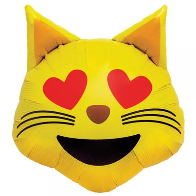 Emoticon Emoji Love Cat Head Foil Balloon