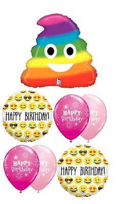 Emoticon Emoji Rainbow Poop Birthday Balloon Bouquet