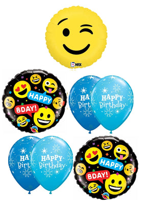 Emoticon Emoji Wink Birthday Balloon Bouquet