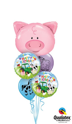 Farm Pig Birthday Balloon Bouquet 6