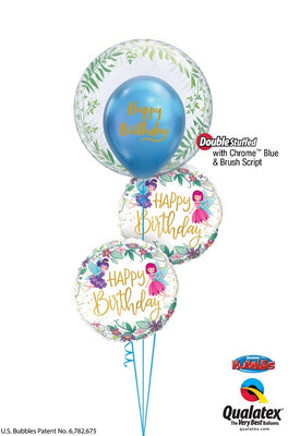 Fairies Bubbles Happy Birthday Balloon Bouquet