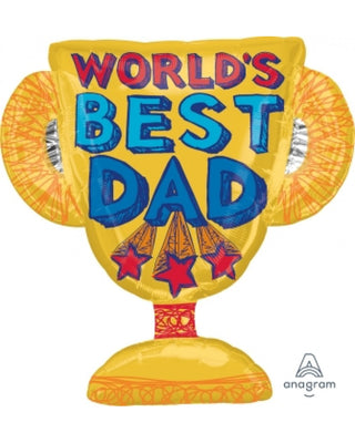 Fathers Day Worlds Best Dad Trophy 27 inch Foil Balloons