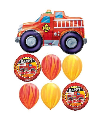 Fire Truck Happy Birthday Agates Balloon Bouquet Richmond Vancouver Burnaby