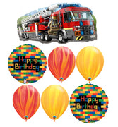 Fire Truck Lego Birthday Balloon Bouquet