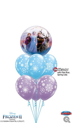 Frozen 2 Elsa and Anna Bubbles Contemporary Snowflakes Bouquet