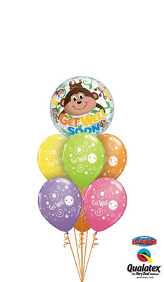 Get Well Monkey Bubbles Balloon Bouquet 1