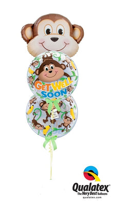 Get Well Monkey Bubbles Balloon Bouquet 3