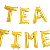 Gold 16 inch Foil Balloon Letters TEA TIME